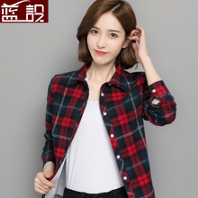2018 new chic, early autumn jacket, velvet checked shirt, women's long sleeves, Korean version, thickened, loose and warm shirts.