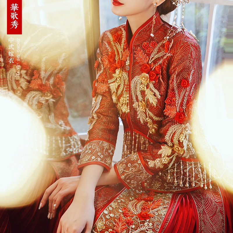 Show dress bride dress 2020 new wedding dress toast phoenix crown xia 帔 wedding dress Chinese wedding dress and female