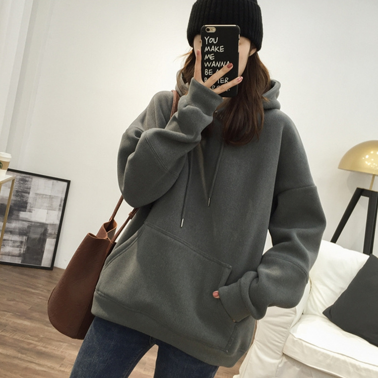 South Korean sweater fried street round collar tide plus plus thick loose show thin medium long velvet sweater hair long-sleeved ootd female INS