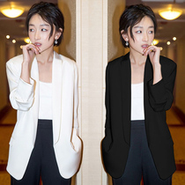 maje franch small suit jacket female Korean version British style casual slim green collar suit Female shirt spring