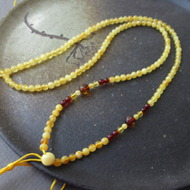 Moons Mei natural Amber loose beads genuine gold wire beeswax with chain necklace jewelry lanyard chain taste of time