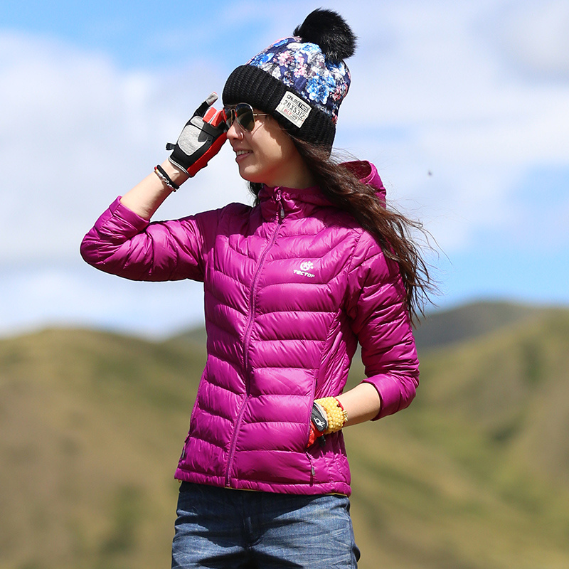 Taotao outdoor women's light white duck down jacket hiking mountaineering hooded windproof warm jacket