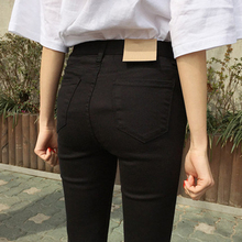 Black jeans women high waist and small feet 9 minutes 2019 new autumn and winter show slim, tall, tight, velvety and elegant