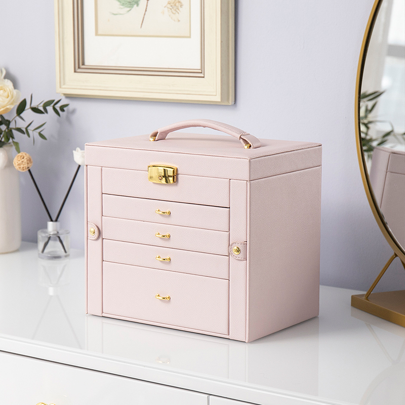 Jewelry box large-capacity hand-wearing cosmetics hand錶 all-in-one storage box European high-end fine 緻 wedding Nordic style
