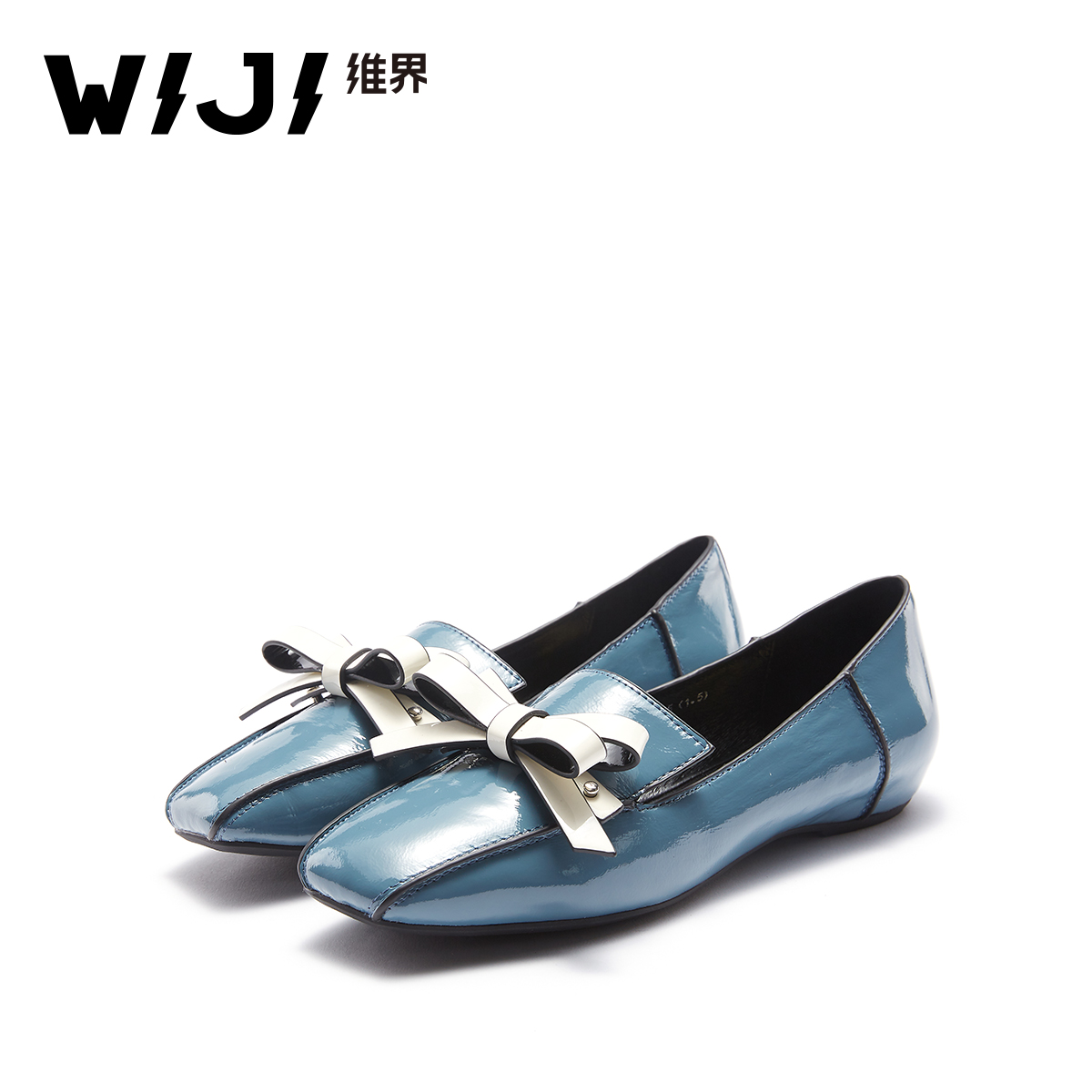 WIJI dimension 2018 summer new fashion women's shoes square head bow one foot Lok Fu shoes college wind single shoes