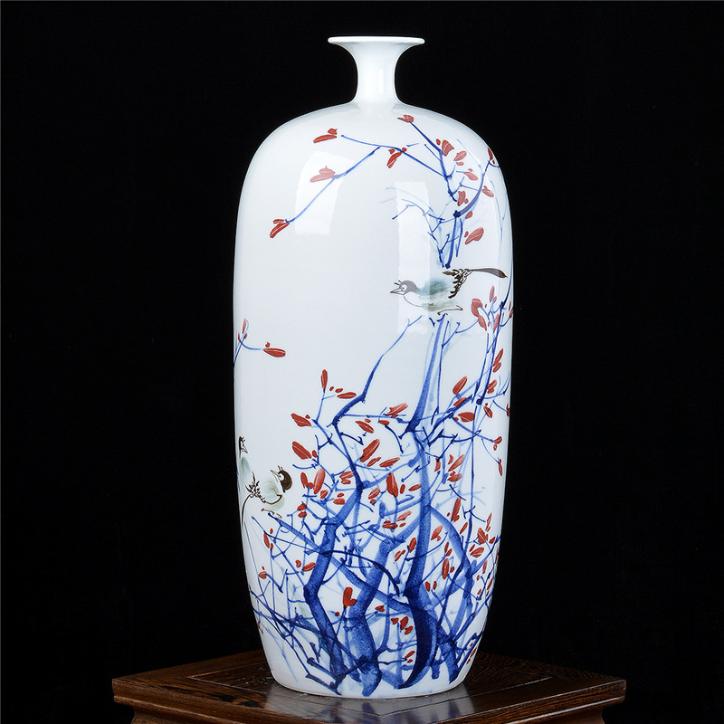 Jingdezhen porcelain master hand-painted pastel floor large vase living room home TV study decoration craft ornaments