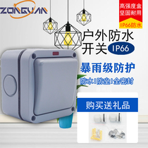 Outdoor waterproof switch garden bathroom site 20A rainstorm prevention 1 open double-cut clearly installed Hong Kong IP66 closed switch