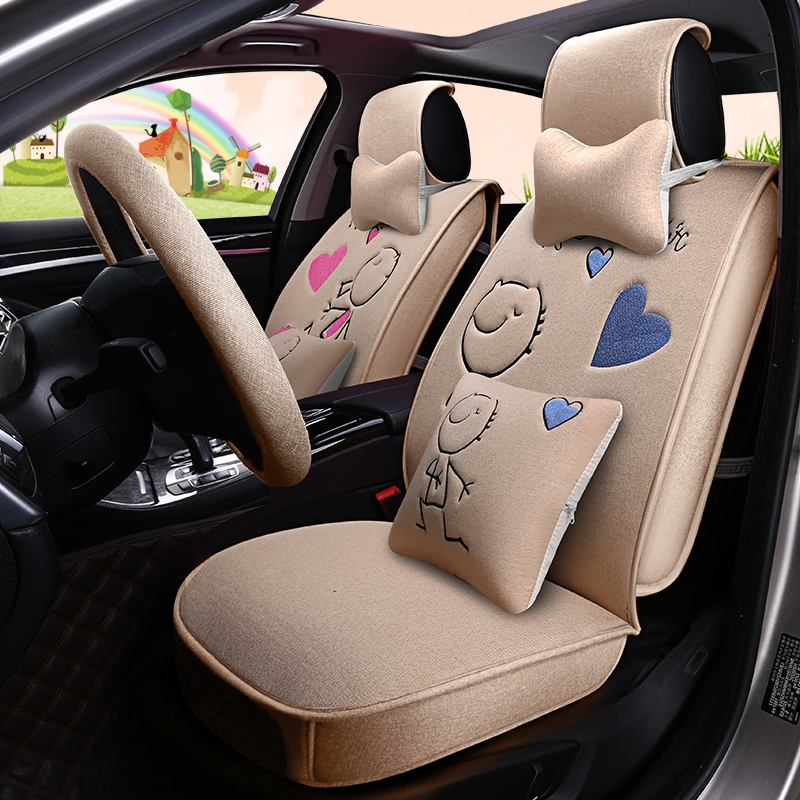 New Summer Cloth Cover, Linen Cartoon and Lovely Lady Car Cartoon Seat Cover