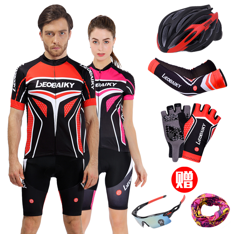 LB Summer Cycling Clothes Short Sleeve Suit Customized for Men and Women Mountain Bike Wearing Breathable and Sweat Cycling Top and Shorts