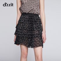 dzzit to the spring and summer New pleated cake skirt printing mesh short skirt skirt female 3F2S3136Q