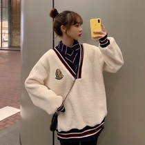 Lamb hair fake two-piece womens 2020 autumn winter Korean version of the college wind white loose-fitting round collar plus velvet jacket tide