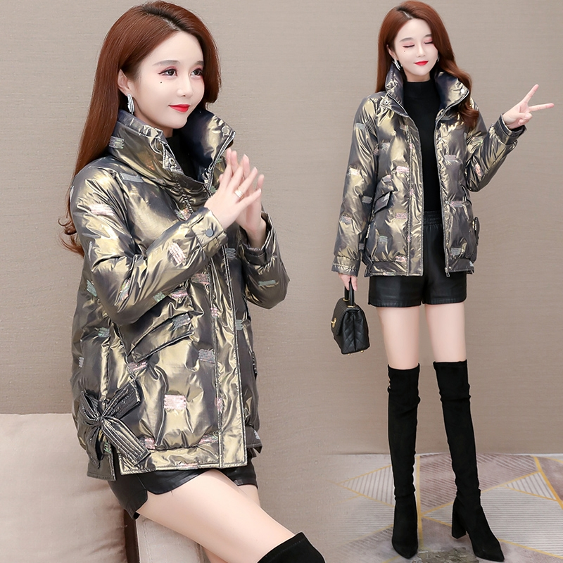 Short bright-faced down cotton clothing womens winter 2020 new wash-free cotton wool net red explosive jacket 2021