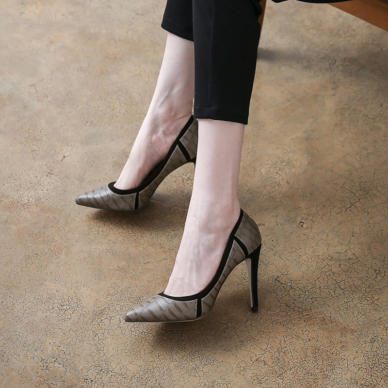 Stylish SNAKE-PRINT fine-heeled single shoes, small size 3132 33, large size 4142 43, shallow pointed high-heeled women's shoes