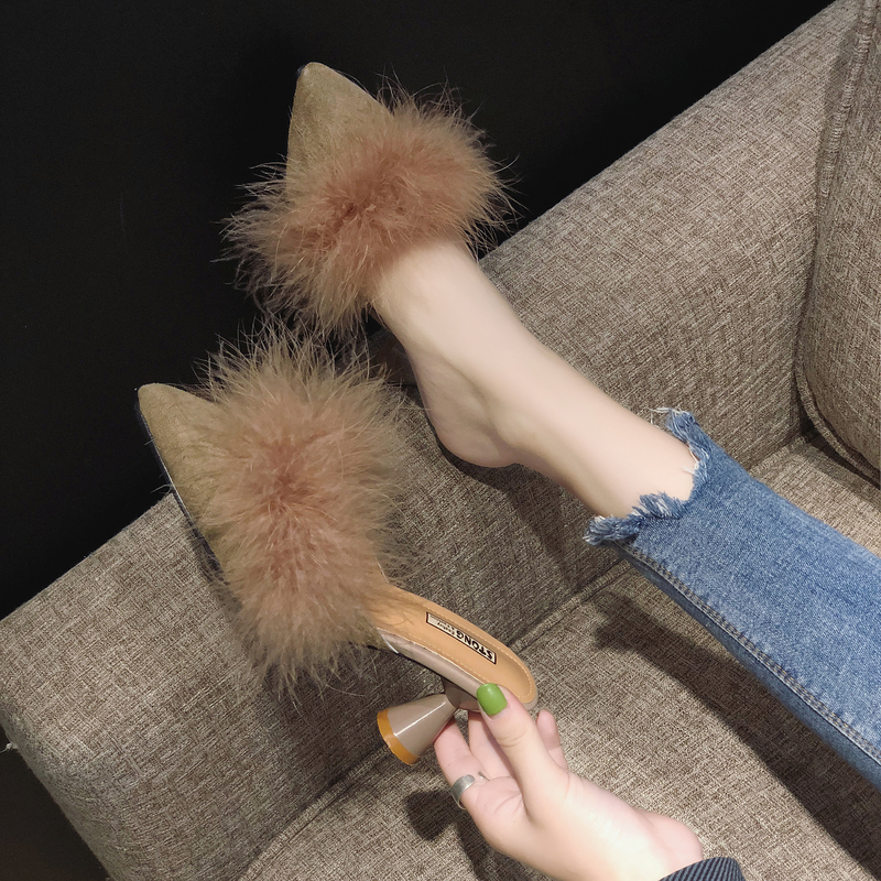Black mid-heel pointed slippers, slippers, fine-heeled fashion fitting shoes, leisure spring and summer Baotou wool high-heeled half-slippers