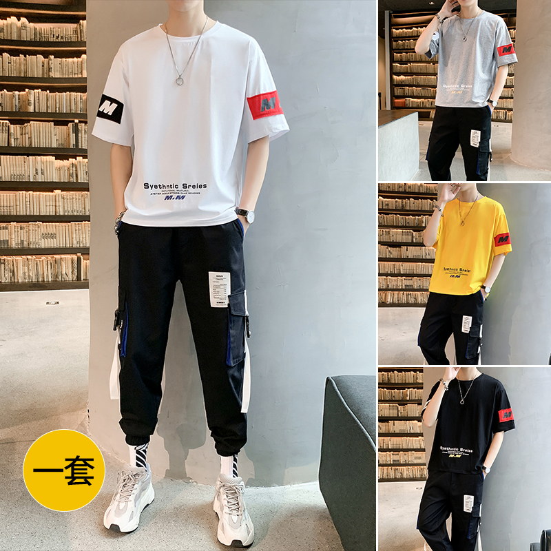 Men's short sleeve T-shirt in summer 2020 new trend a set of cool clothes with casual ice silk suit