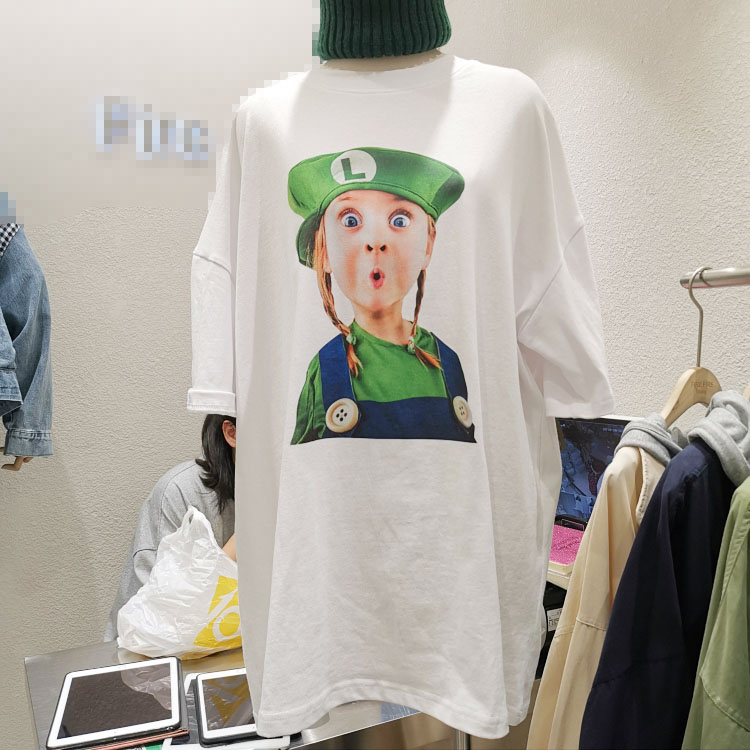 South Korea ulzzang 2019 autumn new loose large half sleeve printed Mario cotton T-shirt for women
