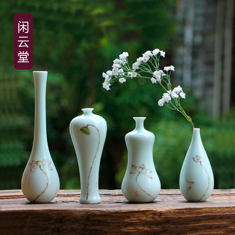 Jingdezhen small flower flower inserted porcelain small vase ceramic hand-painted flower glaze color home accessories