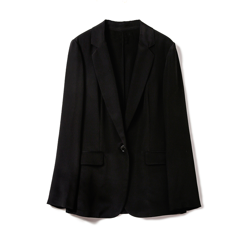 ^@^(WT0326298) Avenue to simple style cut knock luxury stretch crepe silk blazer