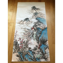 Chinese painting works Landscape painting Pure hand-painted authentic Living room vertical print Heart without models Four feet antique painting Hanging painting in the hall