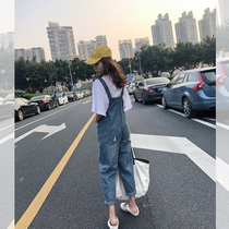 Korean version of the loose reduction of age Wild net Red nine points bib female high waist wide leg straight jeans 2019 New