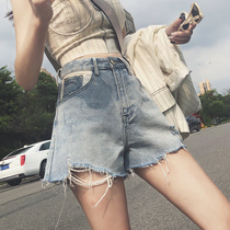High waist elegant with the hole denim shorts female summer a word loose was thin wide leg hot pants super shorts child tide