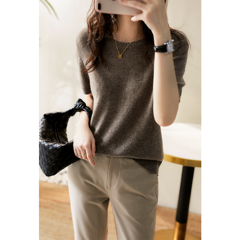 Xiaohange thin wool cashmere pullover short sleeve loose wild sweater top female ZYU360130AG