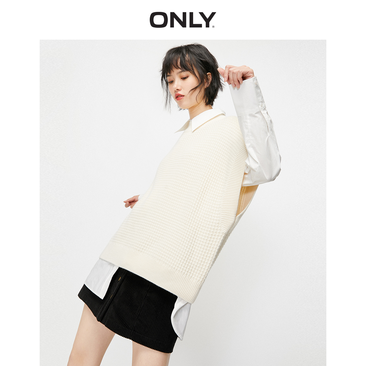 Only2020 spring new two piece knitted loose shirt dress for women 120146520