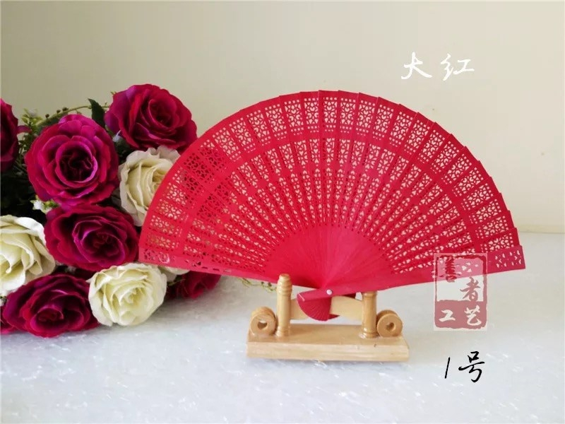 Red Folding Fan Craft of Lady Qipao in Stage Show Easy to Open and Close Wood Hollow Double Faced Fan