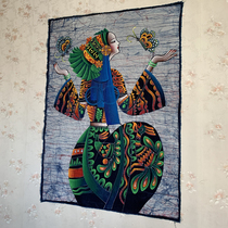 Yunnan hand-painted ethnic style batik oil painting wall-mounted home coffee house restaurant Tie-dye art background specialty gift