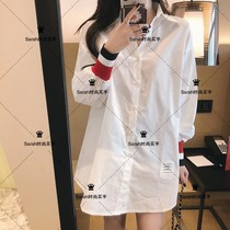 Thom Browne 21 spring and summer TB shirt Academy style long loose cotton long sleeve shirt Women