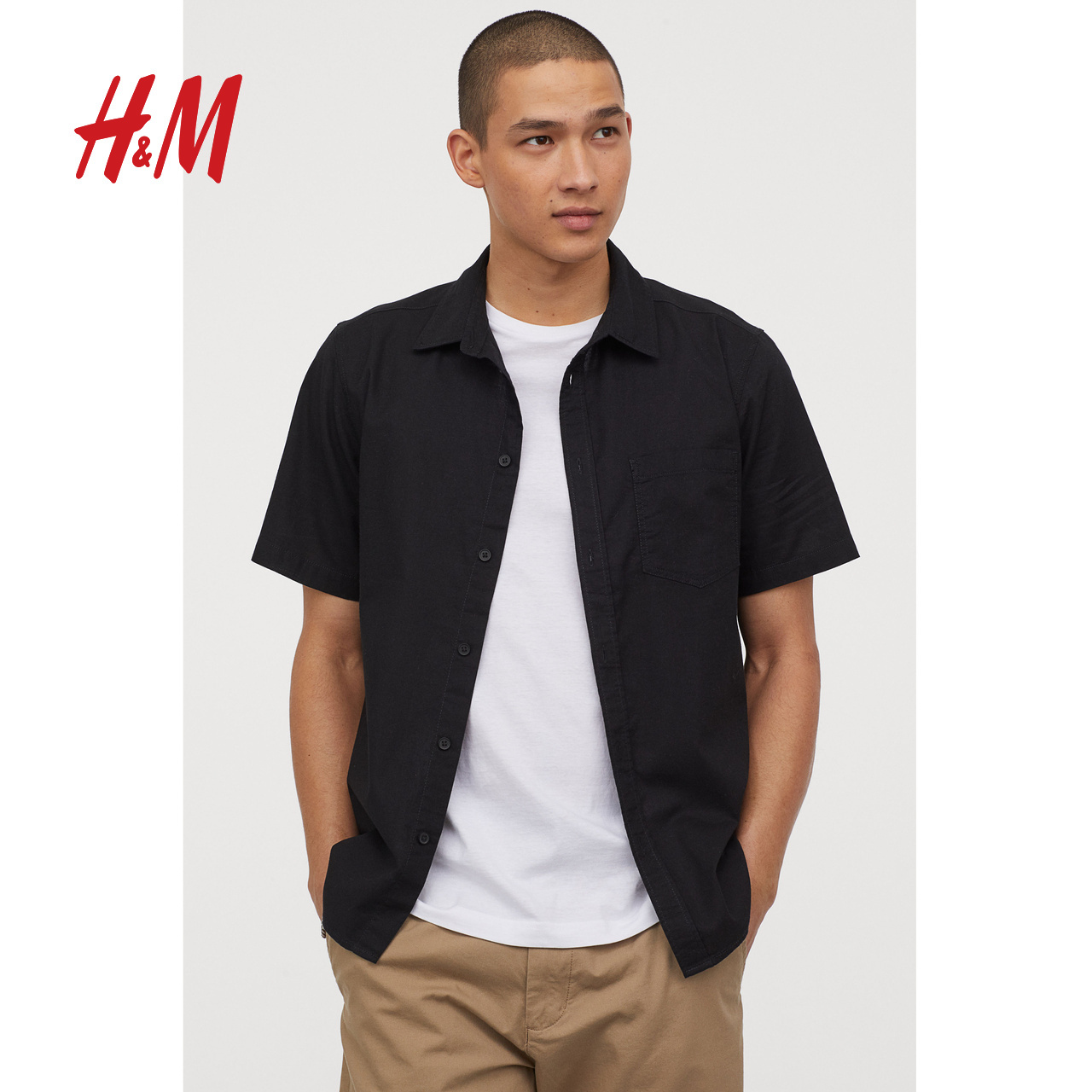 HM divided men's shirt men's fashion 2020 spring new Casual Short Sleeve Shirt Men's 0838780
