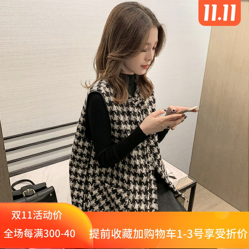 Womens vest jacket autumn and winter wear 2020 new top loose Korean version of the fashion knitted horse clip