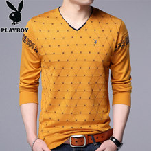 Playboy Knitwear Men's Long Sleeve T-shirt Korean trend v-collar shirt men's shirt on the autumn clothes