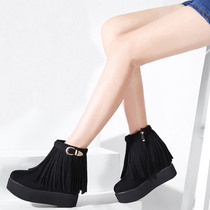2016 new women boots boots in autumn and winter tassel boots with high heel sandals plus boots