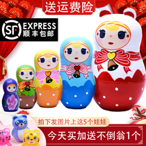 Matryoshka big head son small head Dad movie with the same section plus hard solid wood Six one childrens gift toy