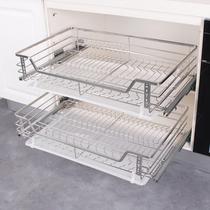 Na tong tirer panier SUS304 en acier inoxydable double coussin armoires de cuisine plats panier bol rack tiroir style sauce panier