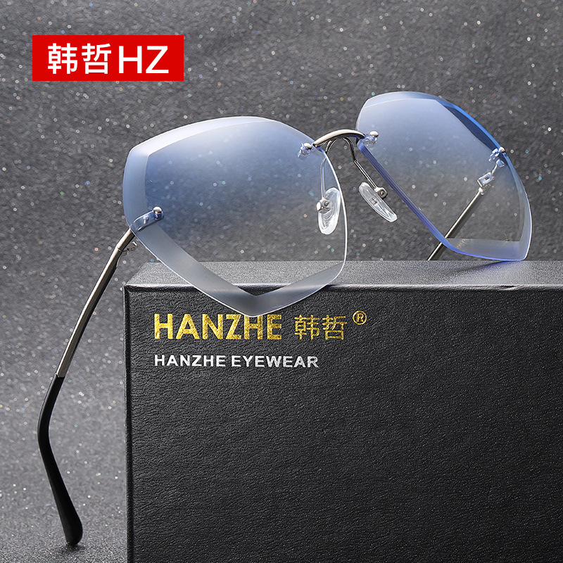 Ocean lens sunglasses, European and American fashion glasses, trimmed sunglasses, rimless metal sunglasses, 7741