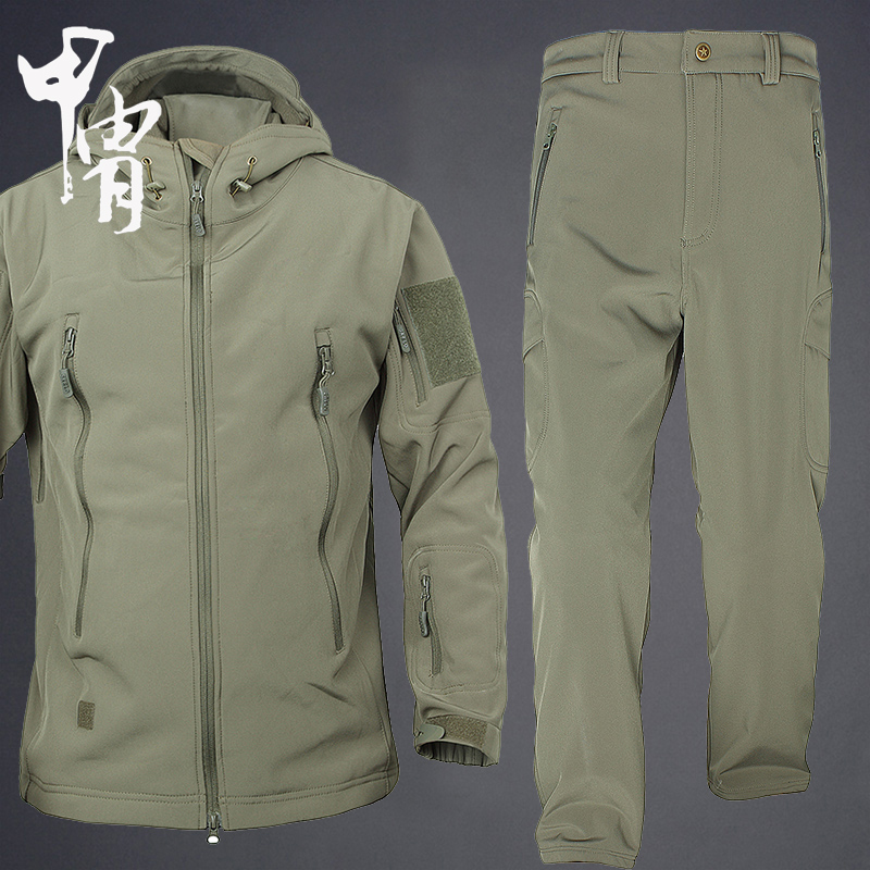 Outdoor soft shell pants suit male spring and autumn two-piece waterproof fishing mountaineering clothing wild survival hunting lurking