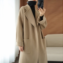 2021 autumn and winter new double-sided cashmere coat womens long profile loose 100% wool woolen coat