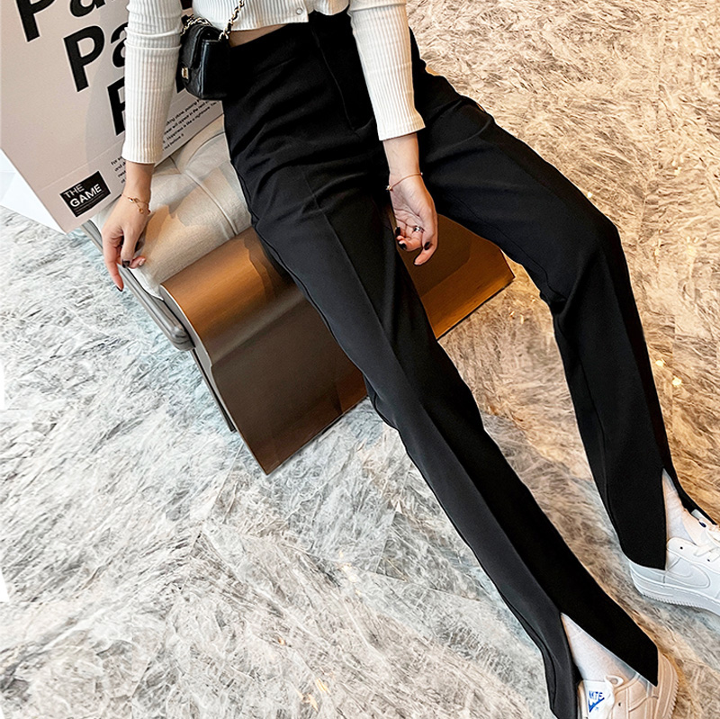 Front fork pants spring womens 2021 new high-waisted vertical vertical tube drag suit wide-legged pants open summer
