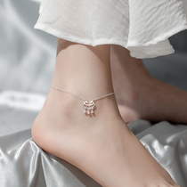 Safe lock anklet female sterling silver does not fade net red 2021 new fashion high-level sense of transport long-life lock bell temperament
