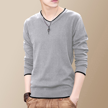 Knitted T-shirt, Long Sleeve Sleeve, New Bottom Line Garment, V-neck Korean Edition, Young Men's Sweater Trend G