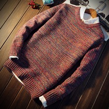 Men Pullover Round Neck Vintage Sweater Bottoming Knit Shirt