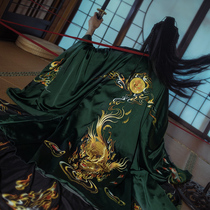Sequence of original painting evil spirits Kylin auspicious big sleeve cloak coat embroidery traditional Chinese men and women autumn and winter models