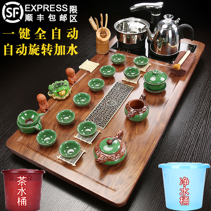 Purple sand tea set family living room set of fully automatic kung fu tea-making solid wood tea plate as one tea ceremony simple