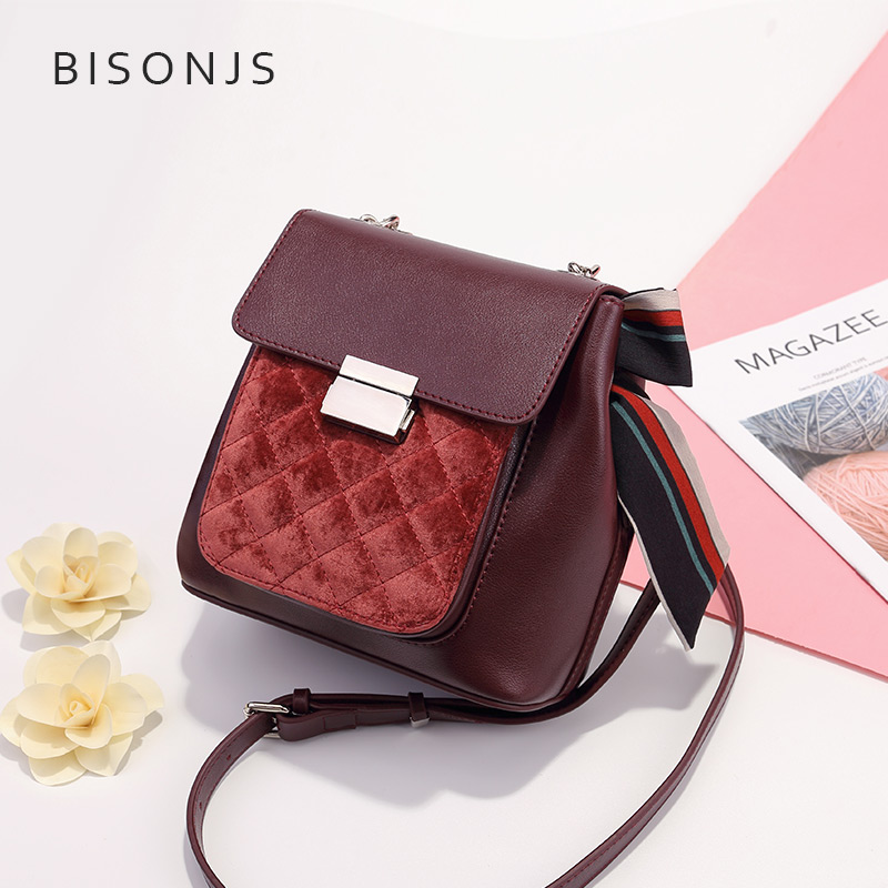 Bag female 2018 new autumn and winter leather bucket bag female Messenger bag fashion rhombic shoulder bag lock buckle packet tide