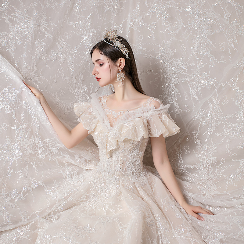 2020 new main wedding dress bride's big tail French super fairy dream starry sky simple atmosphere 2019