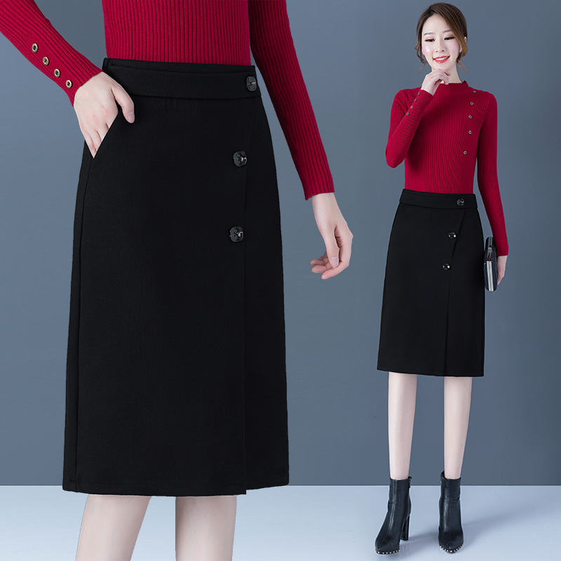 Half-length skirt autumn and winter 2020 new fashion plaid high waist bag hip woolen mid-length a-line short skirt women