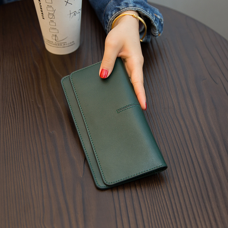 European and American large brand simple super thin long purse female genuine leather 2019 new style temperament buckle card soft cowhide Wallet