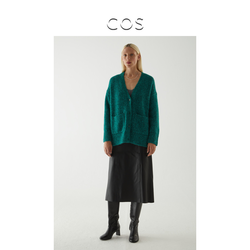 COS womens alpaca wool blend pull-up cardigan green 2020 autumn winter new 0924883001
